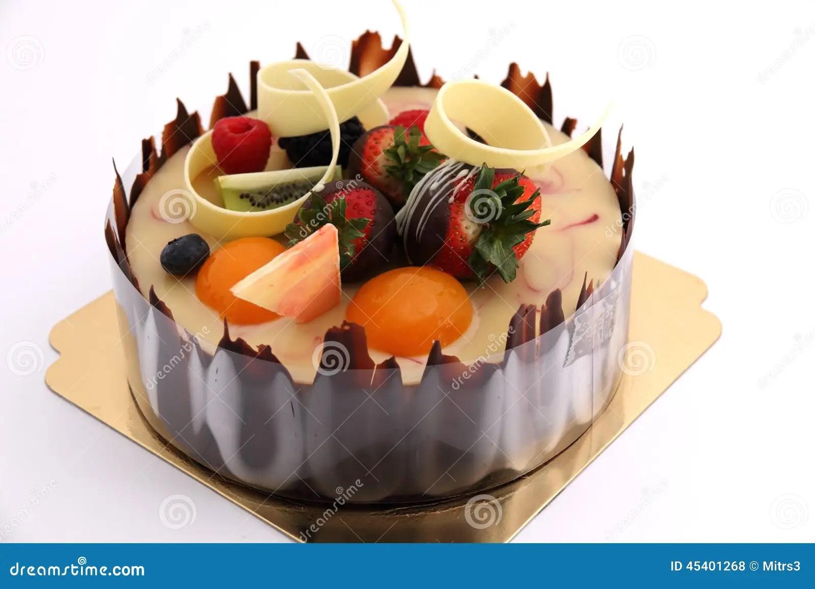 Shot Chocolate Cake Topped With Fresh Fruit Stock Photo