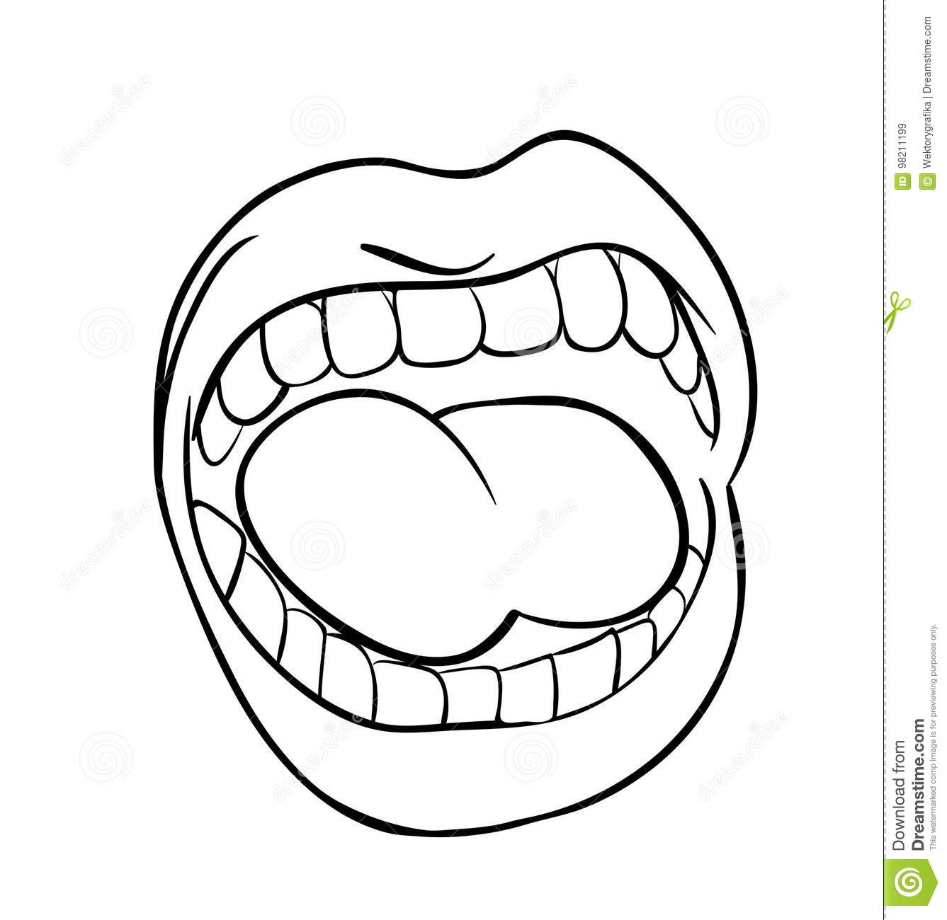 Shouting Lips With Teeth And Tongue Cartoon Outline Vector
