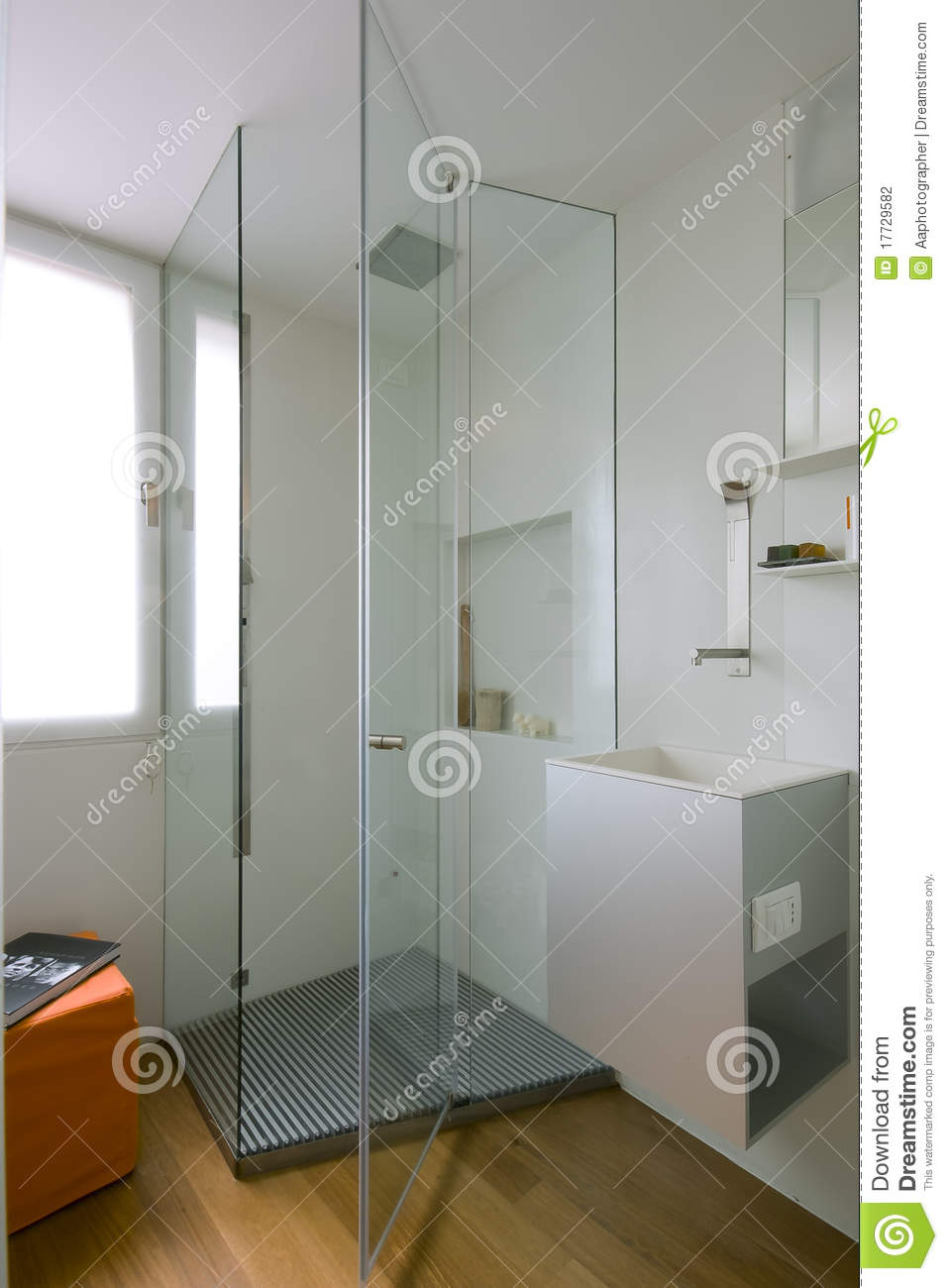 Shower Cubicle With Glass Partition Stock Photo  Image
