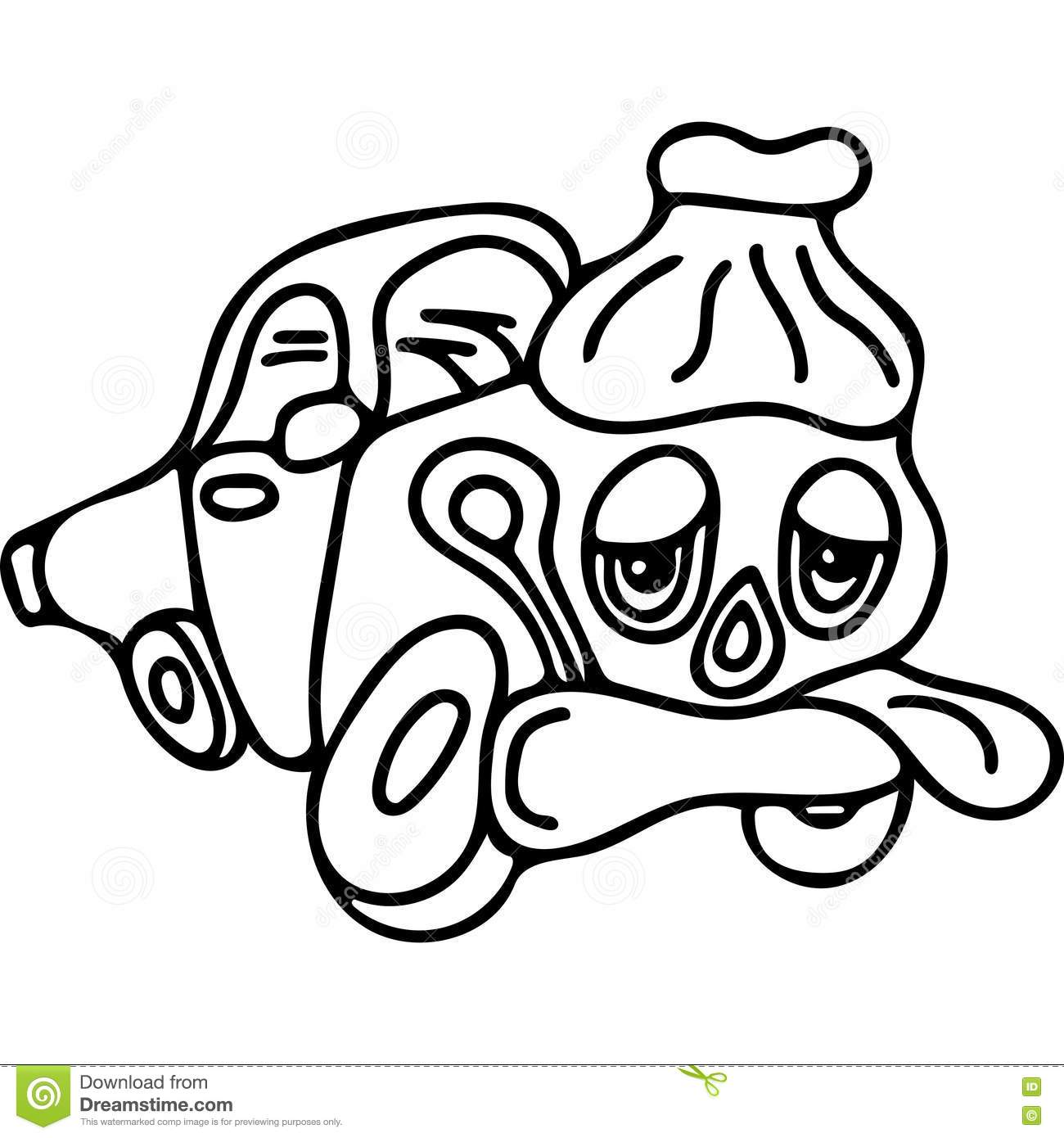 Sick Car Kids Coloring Page Stock Illustration