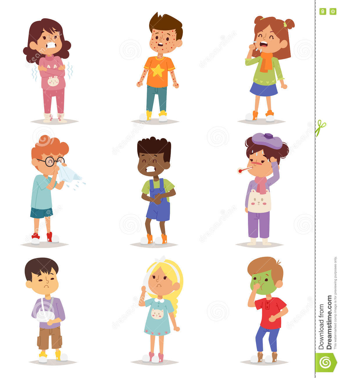 Sick Children Vector Set Stock Vector Illustration Of