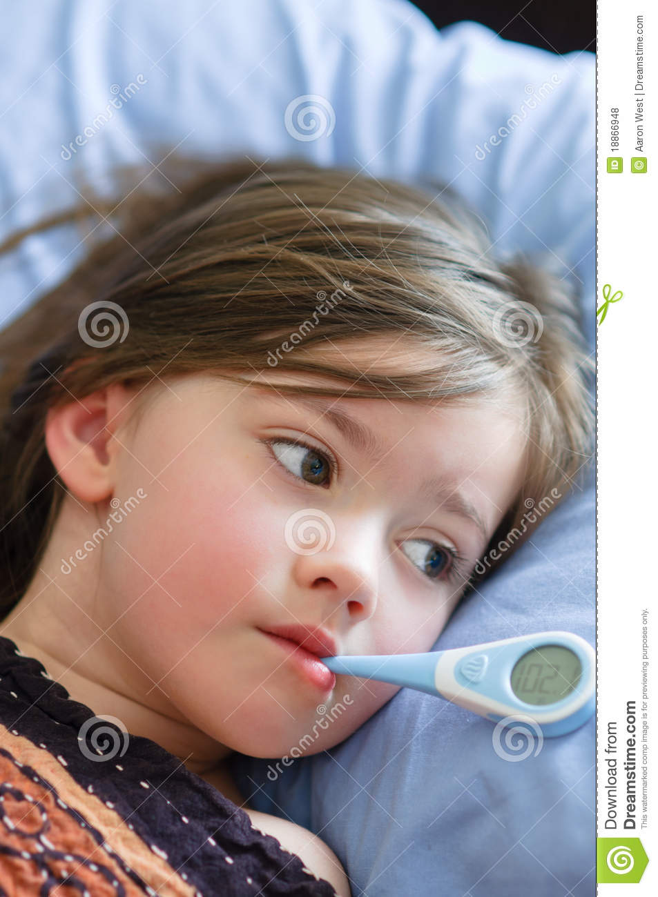 Sick Girl With Fever stock photo Image of elementary