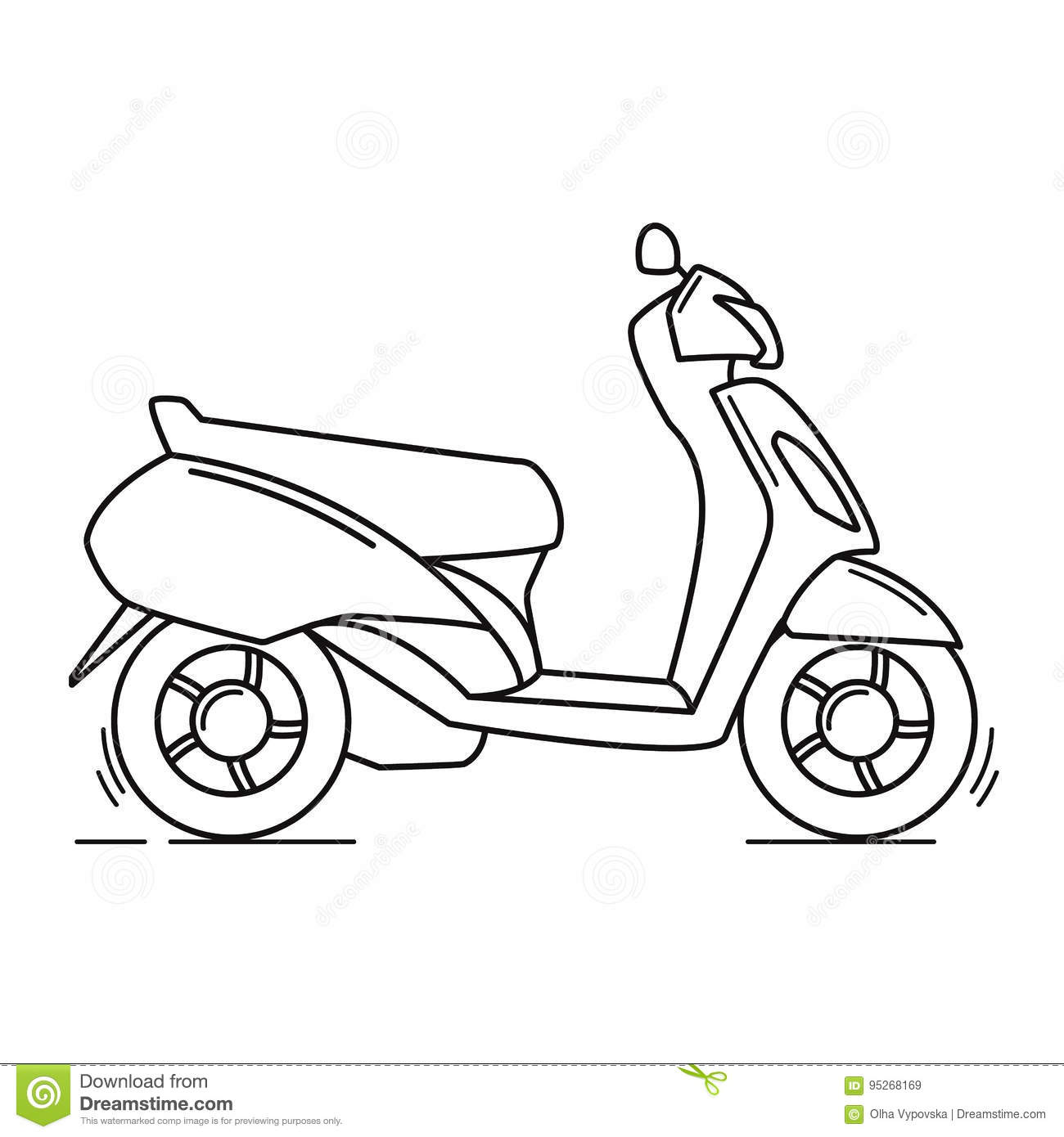 Side View Blue Scooter Illustration Linear Art Stock