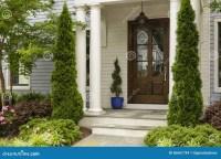 Side View Of Dark Wood Front Door Stock Photo - Image ...