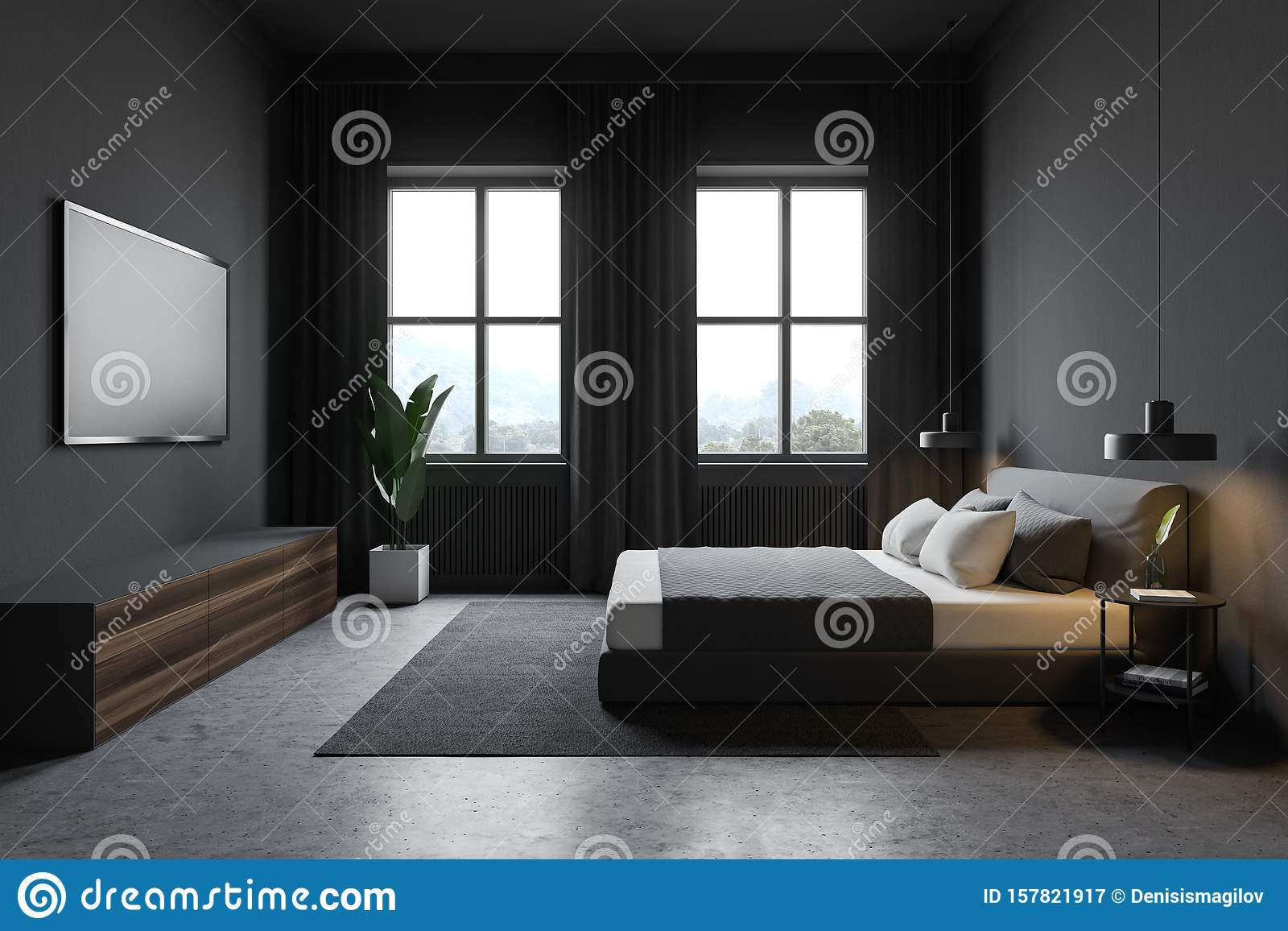 Side View Of Gray Bedroom With Windows And Tv Stock Illustration Illustration Of Indoors Lamp 157821917
