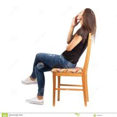 Woman Sitting In Chair Herman Miller Eames Repair Side View Of Smoking Casual On Stock