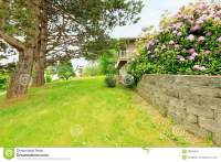 Side Yard With Blooming Bushes Stock Photo - Image: 39002384