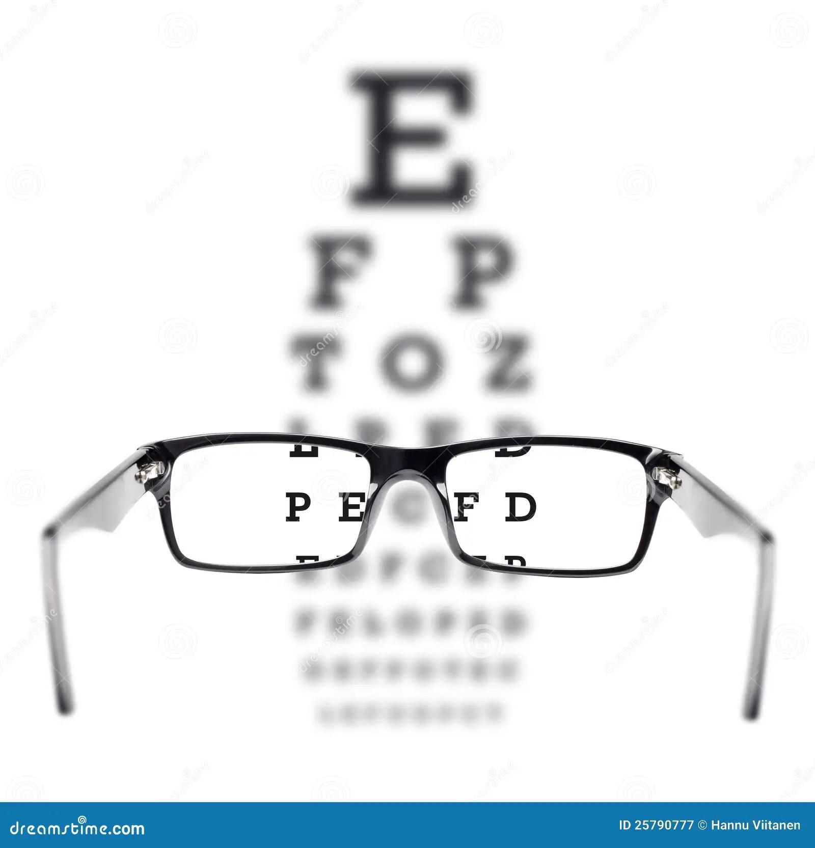 Sight Test Seen Through Eye Glasses Royalty Free Stock