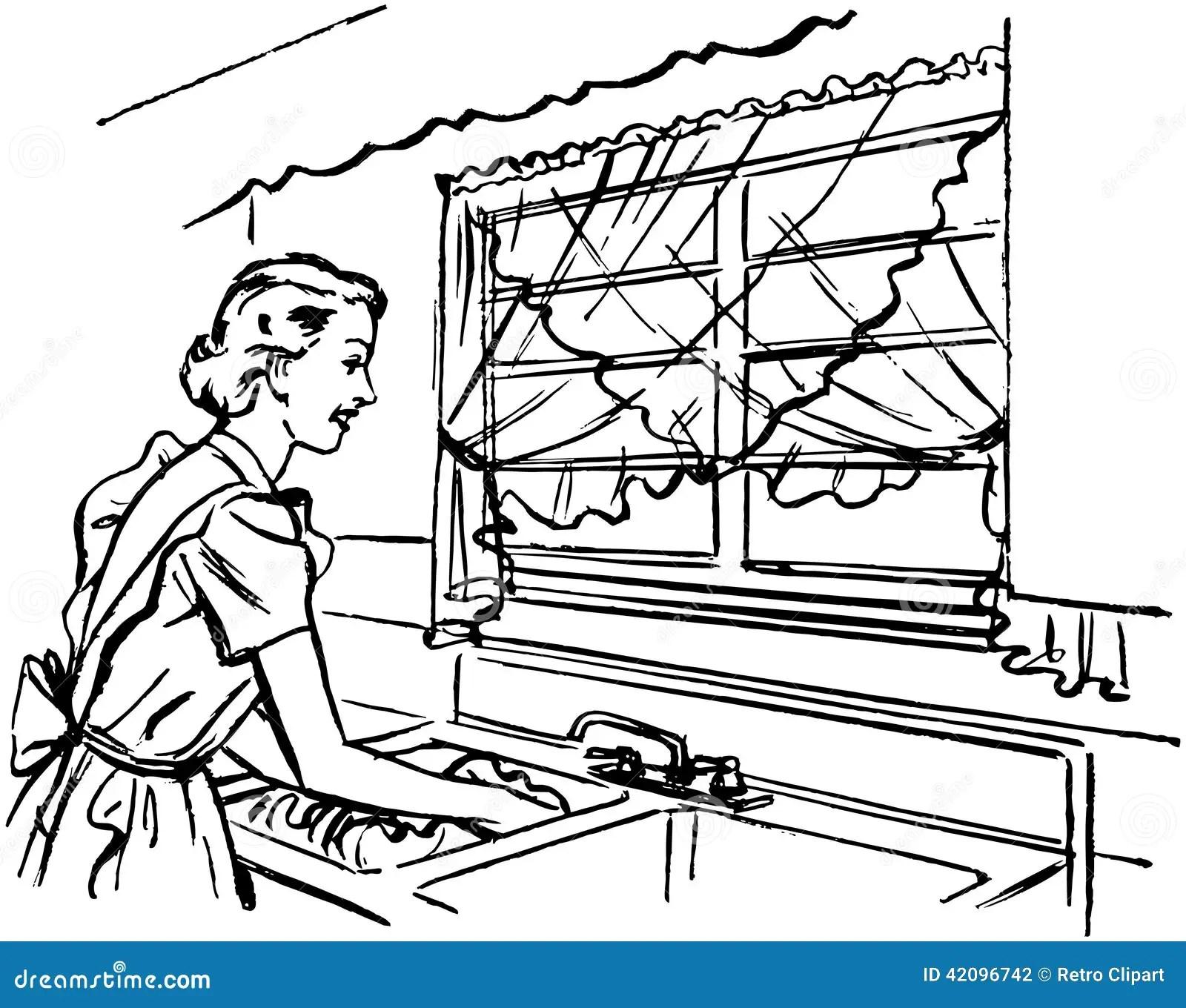 Signora Washing Dishes Illustrazione Vettoriale