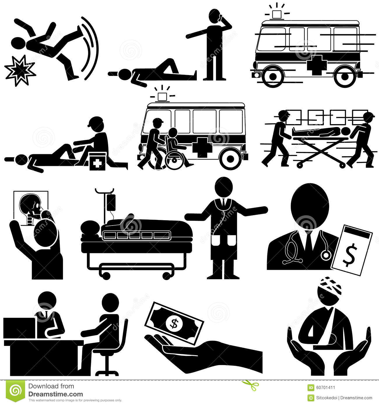 Silhouette Of Accident And Insurance Service Stock Vector