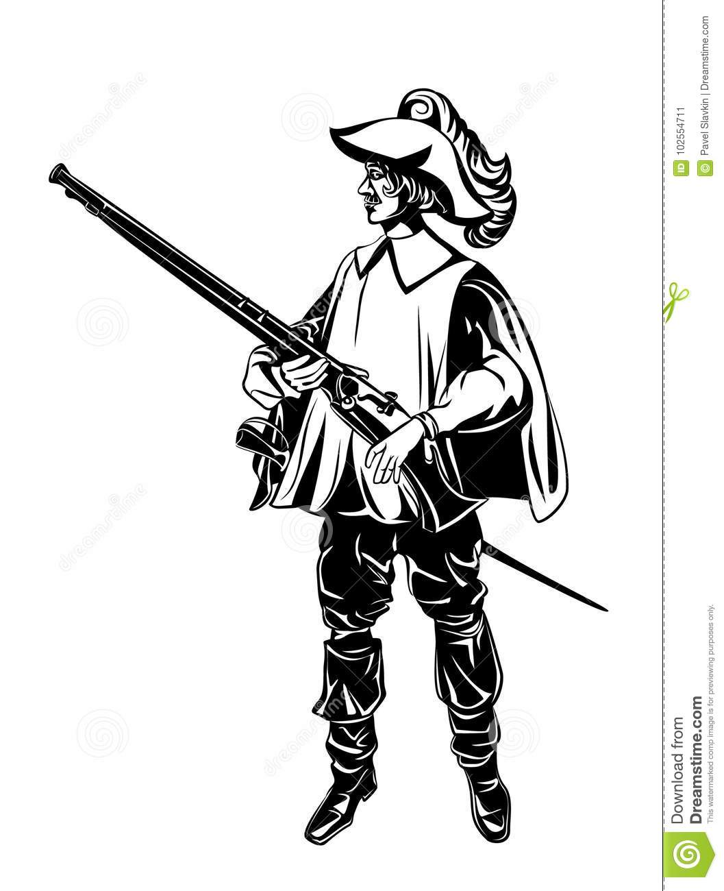 Silhouette Of An Armed Musketeer Stock Vector