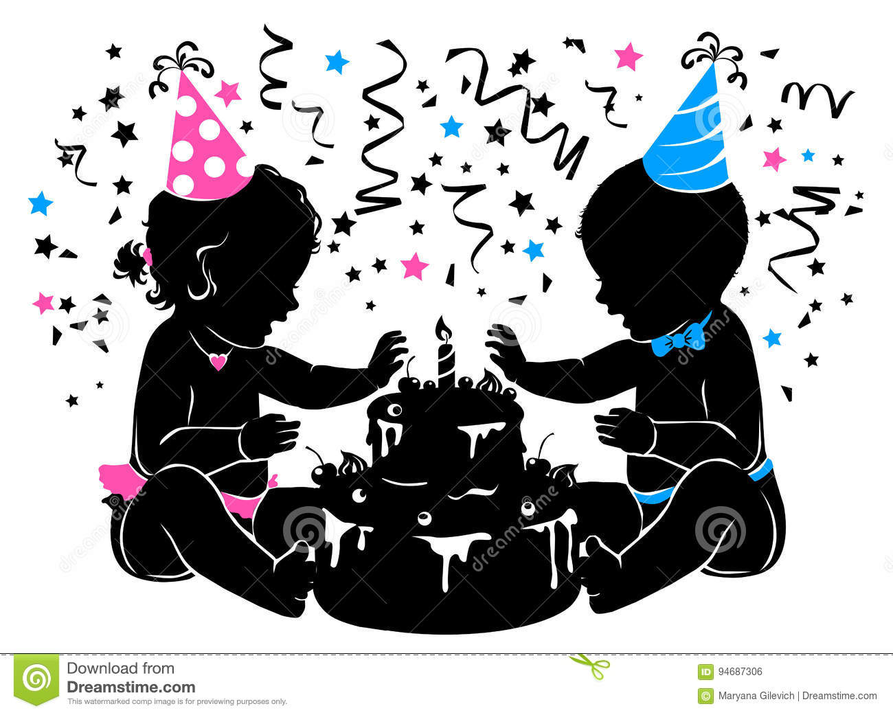 Silhouette Baby Boy Girl Twins With Birthday Cake With