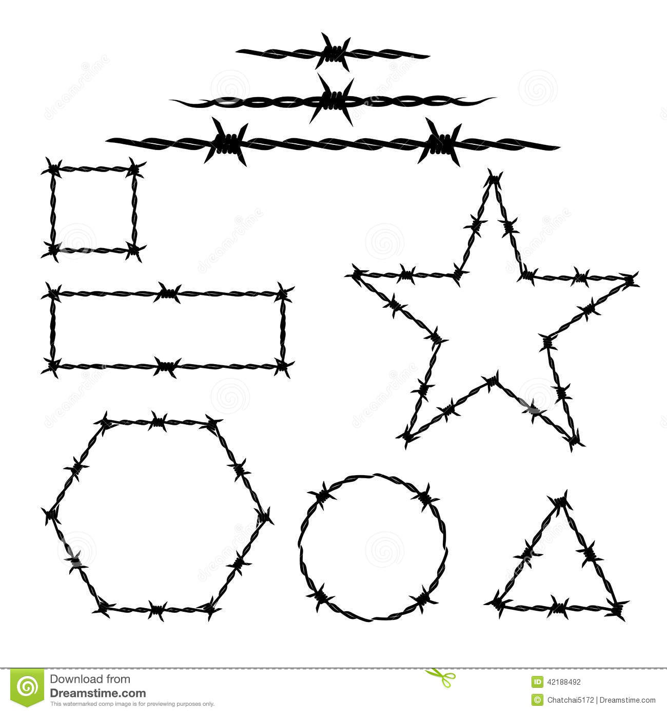 Silhouette Of The Barbwire Tattoo Stock Vector