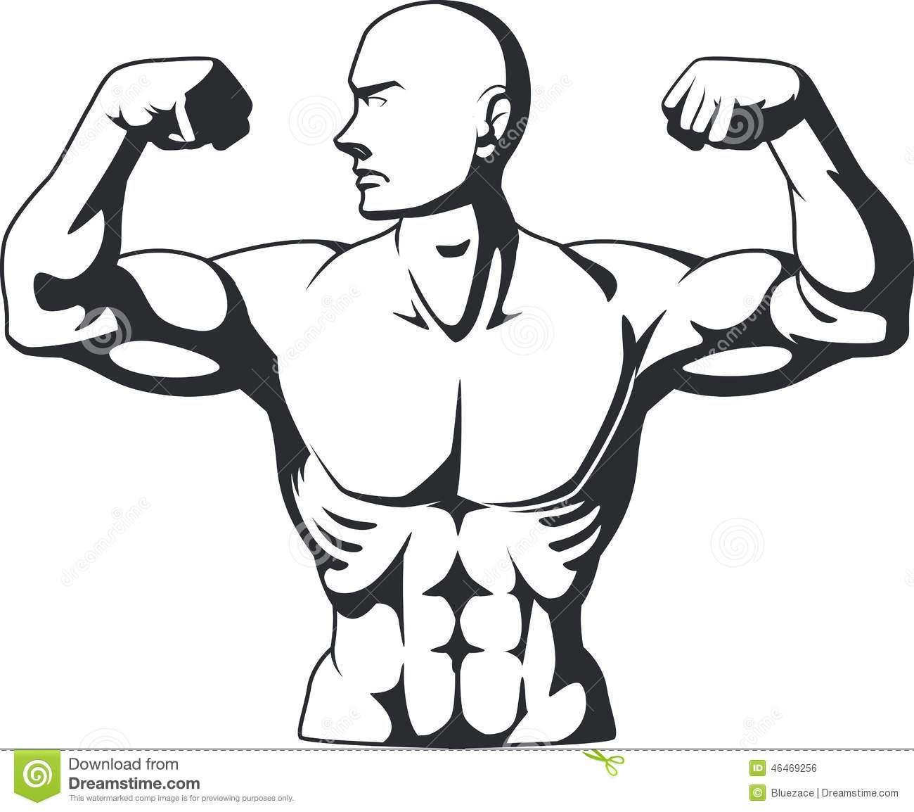 Silhouette Of Bodybuilder Flexing Muscles Stock Vector