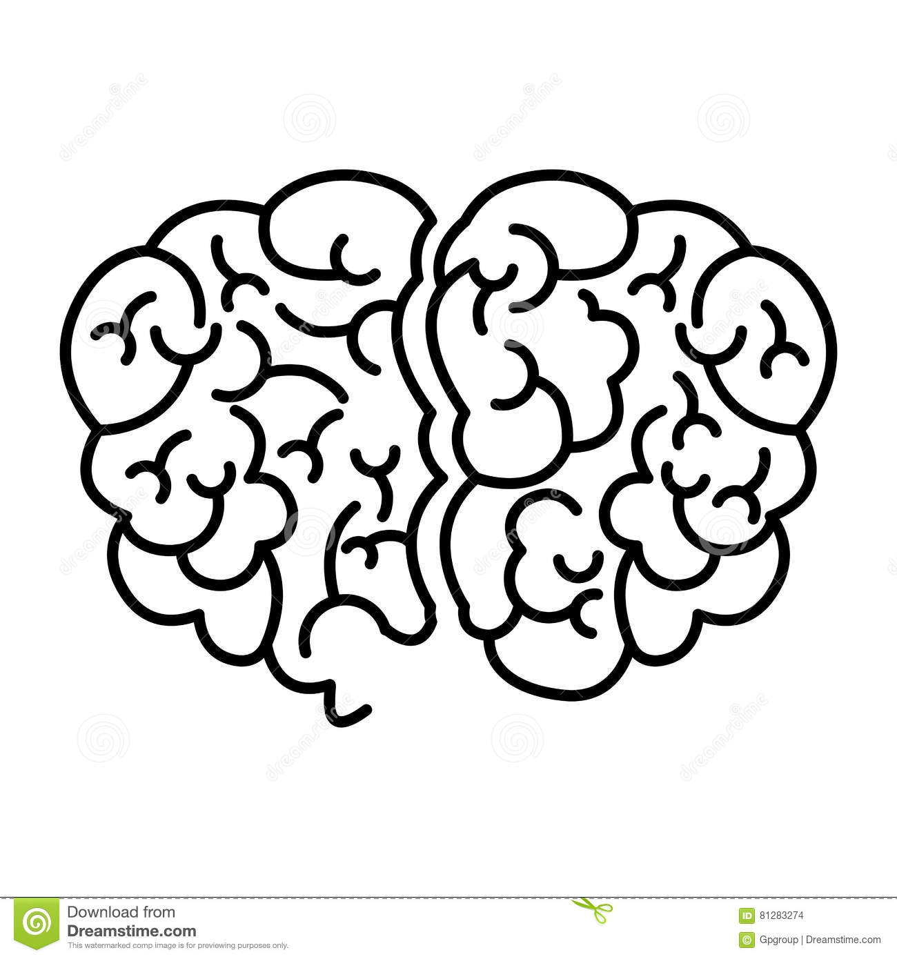 Human Brain Top View Cartoon Vector