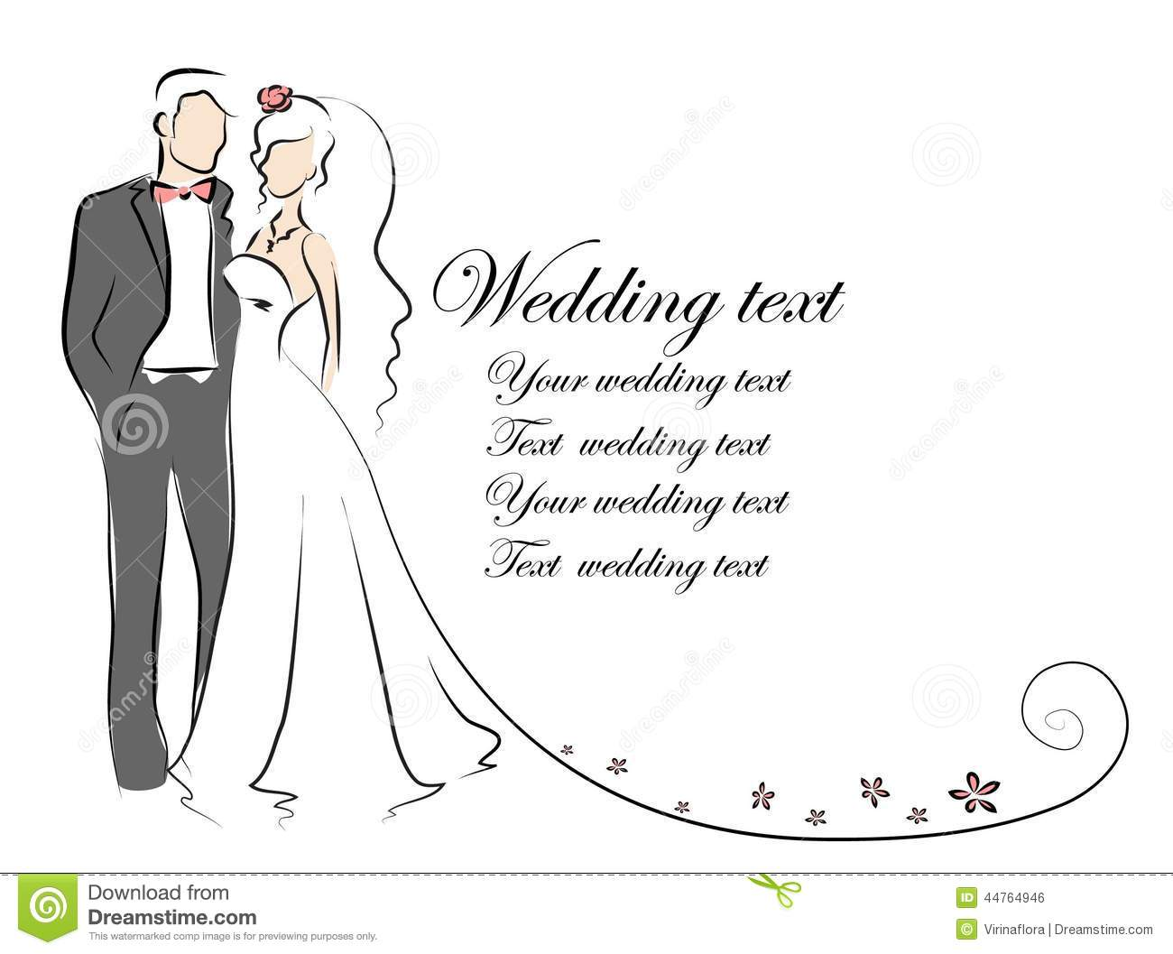 Silhouette Of Bride And Groom Background Vector Stock