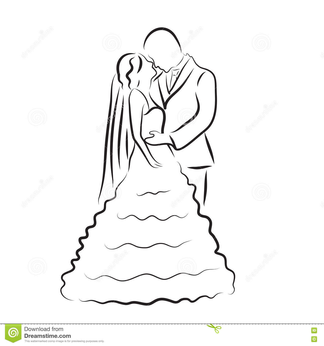 Silhouette Of Bride And Groom Newlyweds Sketch Hand