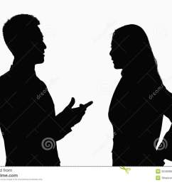 silhouette of businessman and businesswoman talking  [ 1300 x 981 Pixel ]