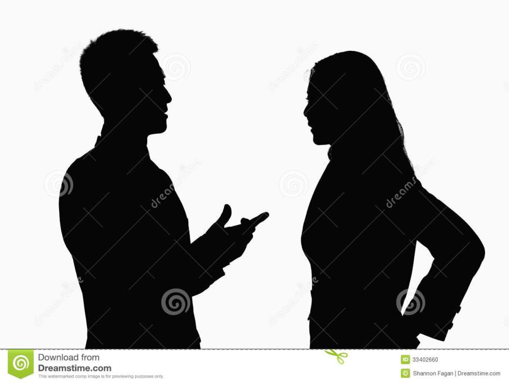 medium resolution of silhouette of businessman and businesswoman talking