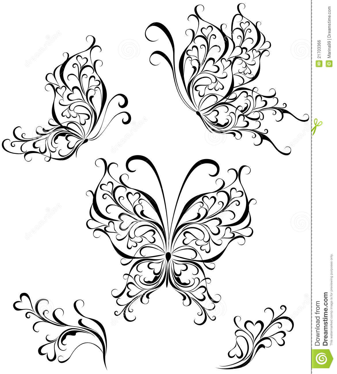 Silhouette Butterflies Vector Illustration Royalty Free