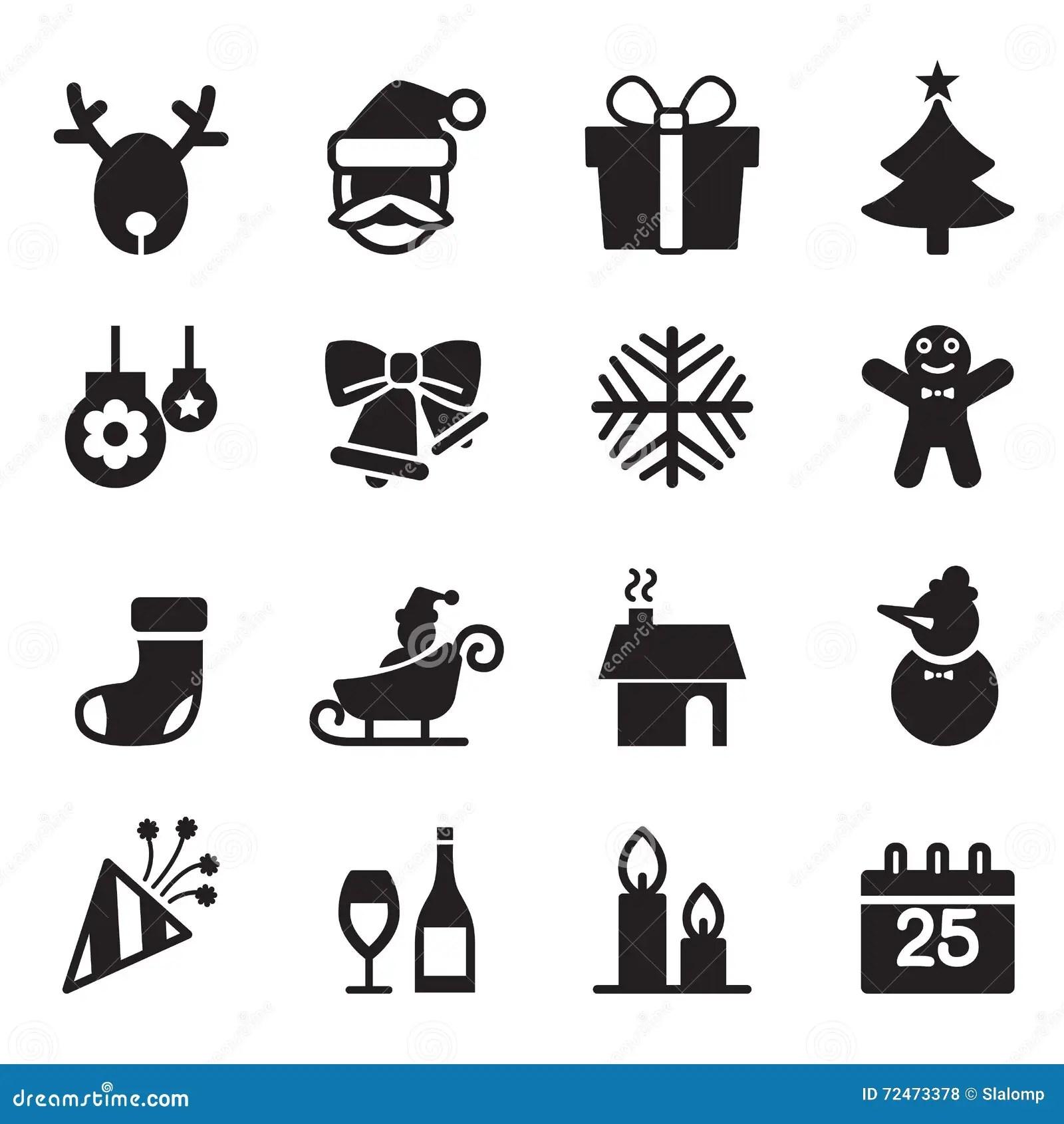 Silhouette Christmas Icons Set Stock Vector
