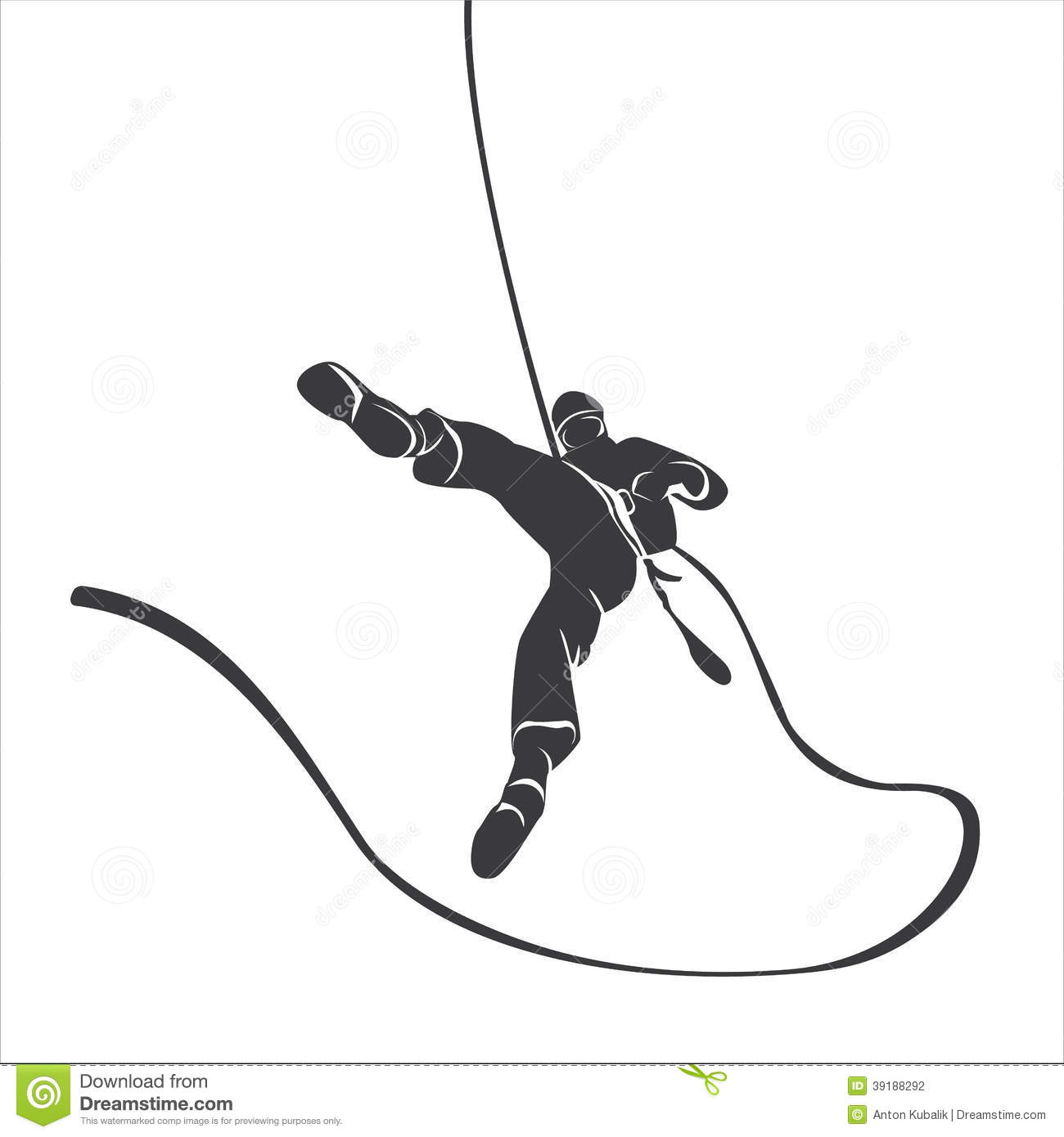 Silhouette Of A Climber Abseil Stock Vector