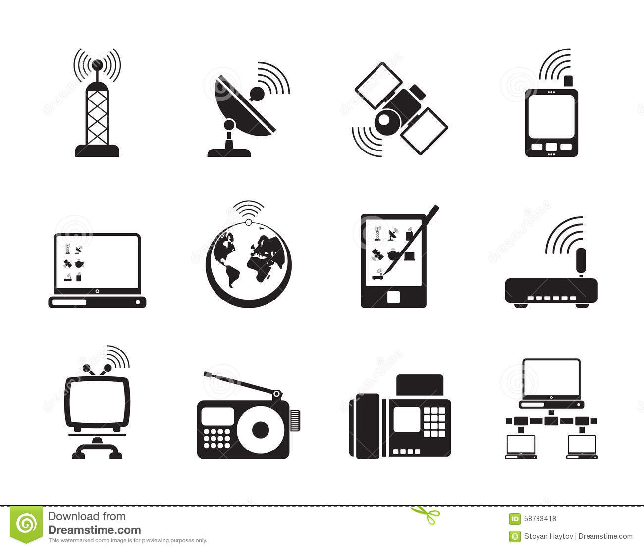 Communication Connection And Technology Icons Vector