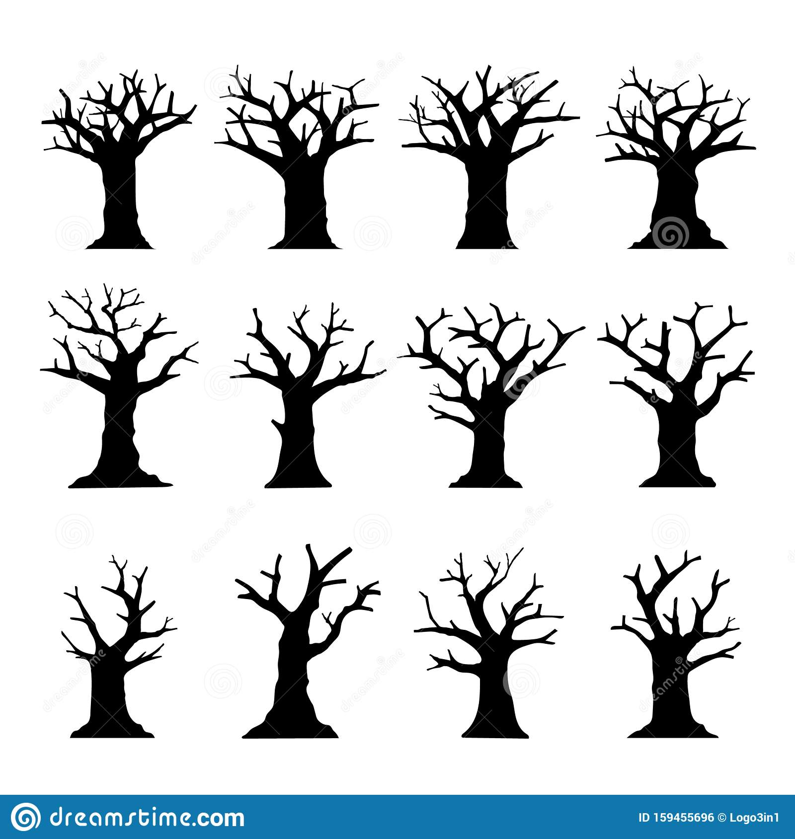 Silhouette Dead Tree Without Leaves Collection Isolated On