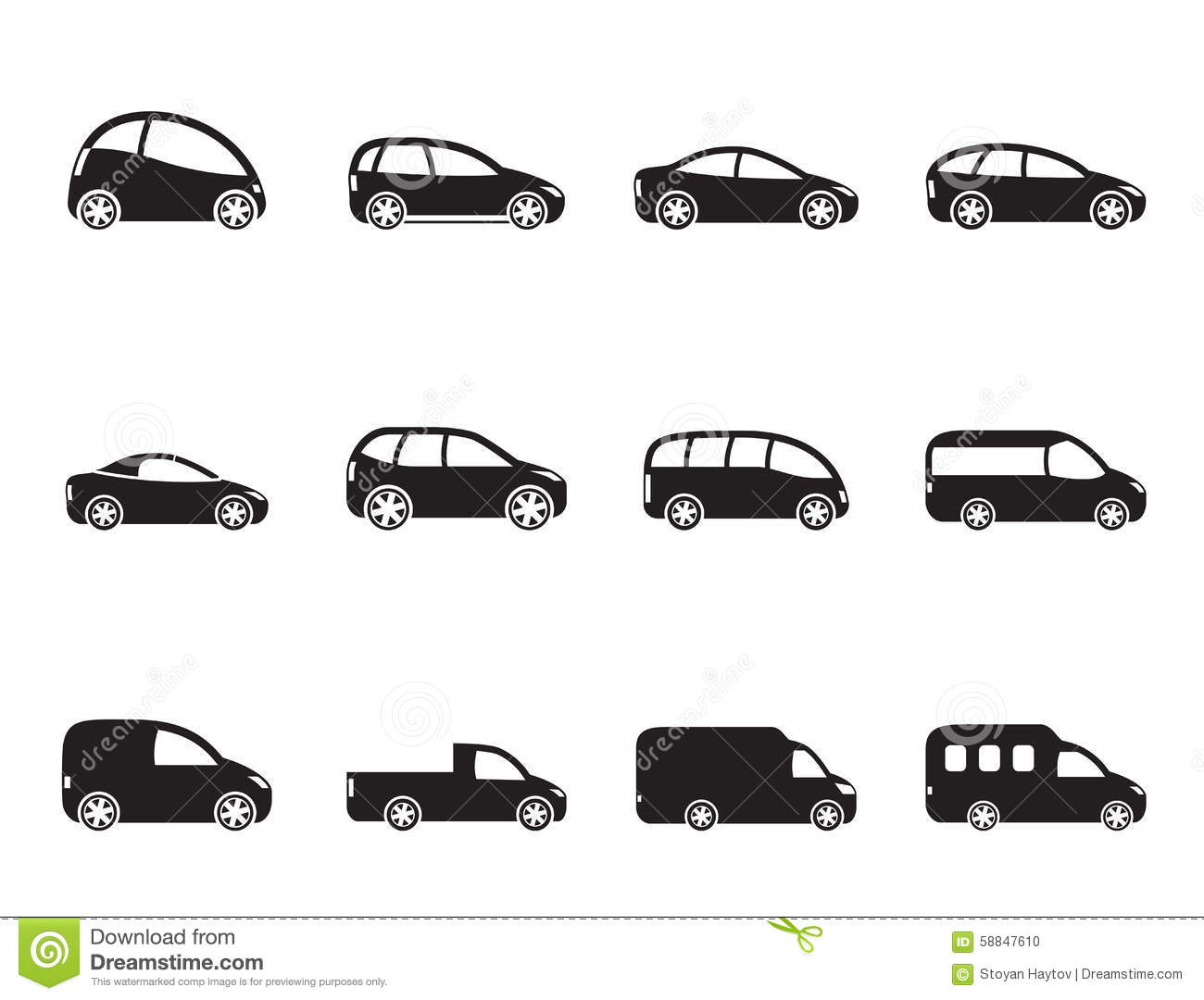 Silhouette Different Types Of Cars Icons Stock Vector