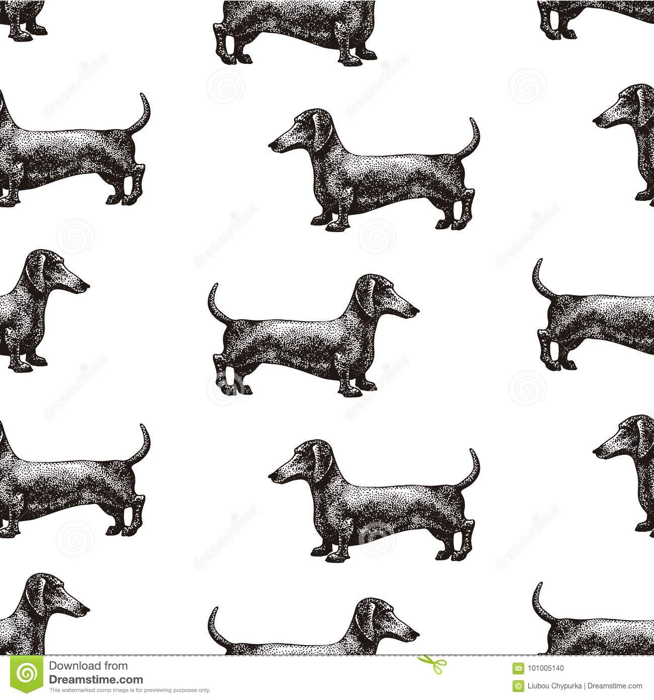 Seamless Vector Pattern With Dogs Vector Illustration Of