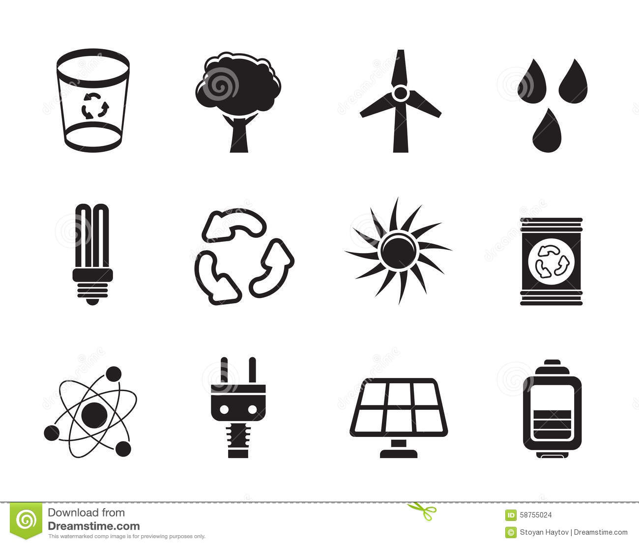 Silhouette Power Energy And Electricity Icons Cartoon