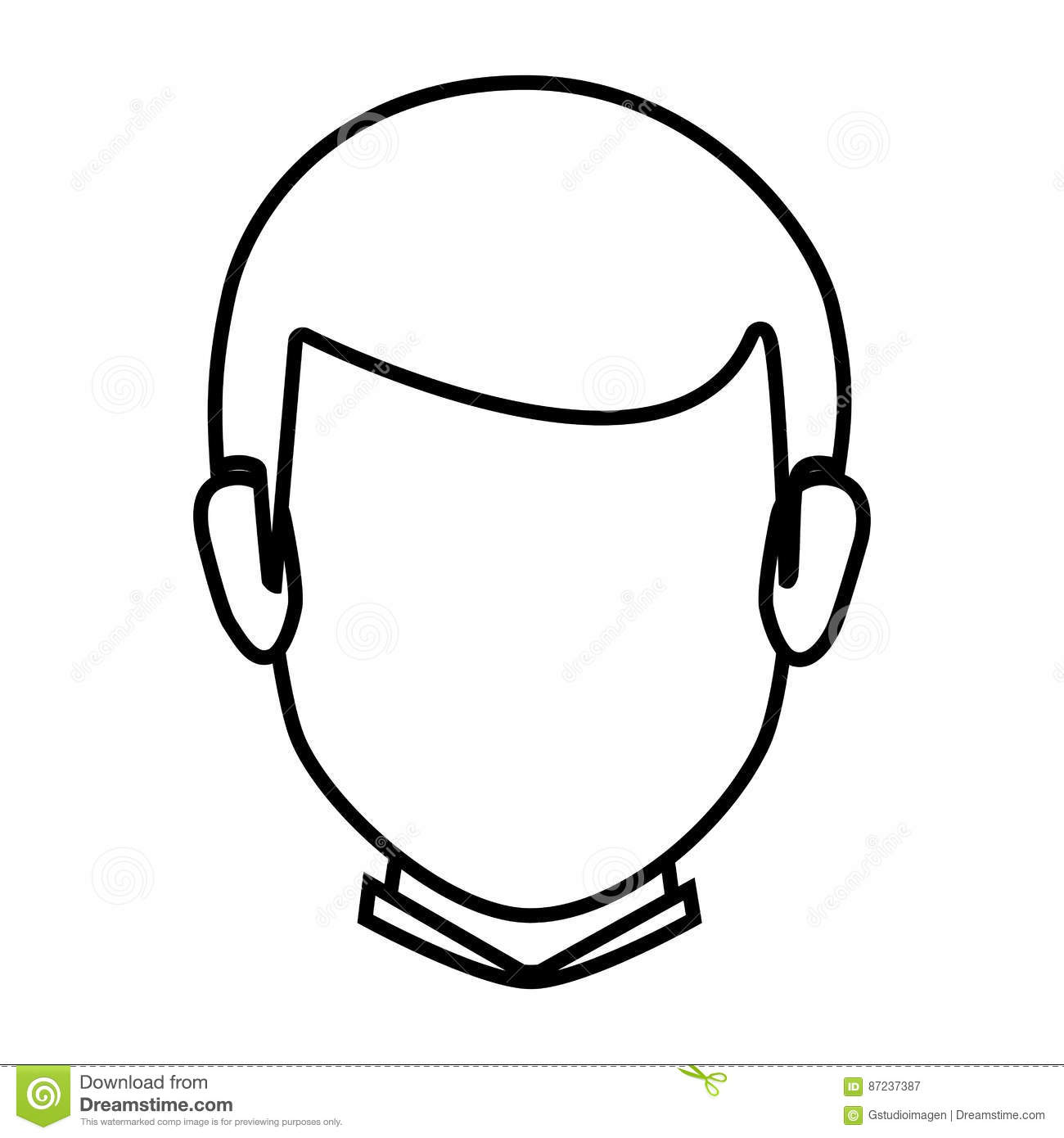 Silhouette Faceless Front View Man With Hairstyle Stock