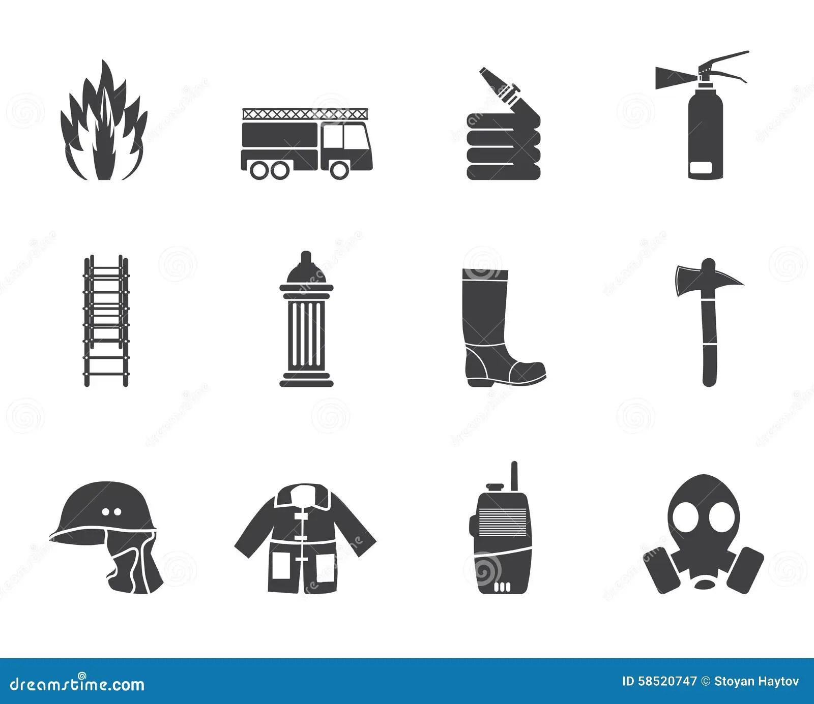 Simple Fire-brigade And Fireman Equipment Icon Cartoon
