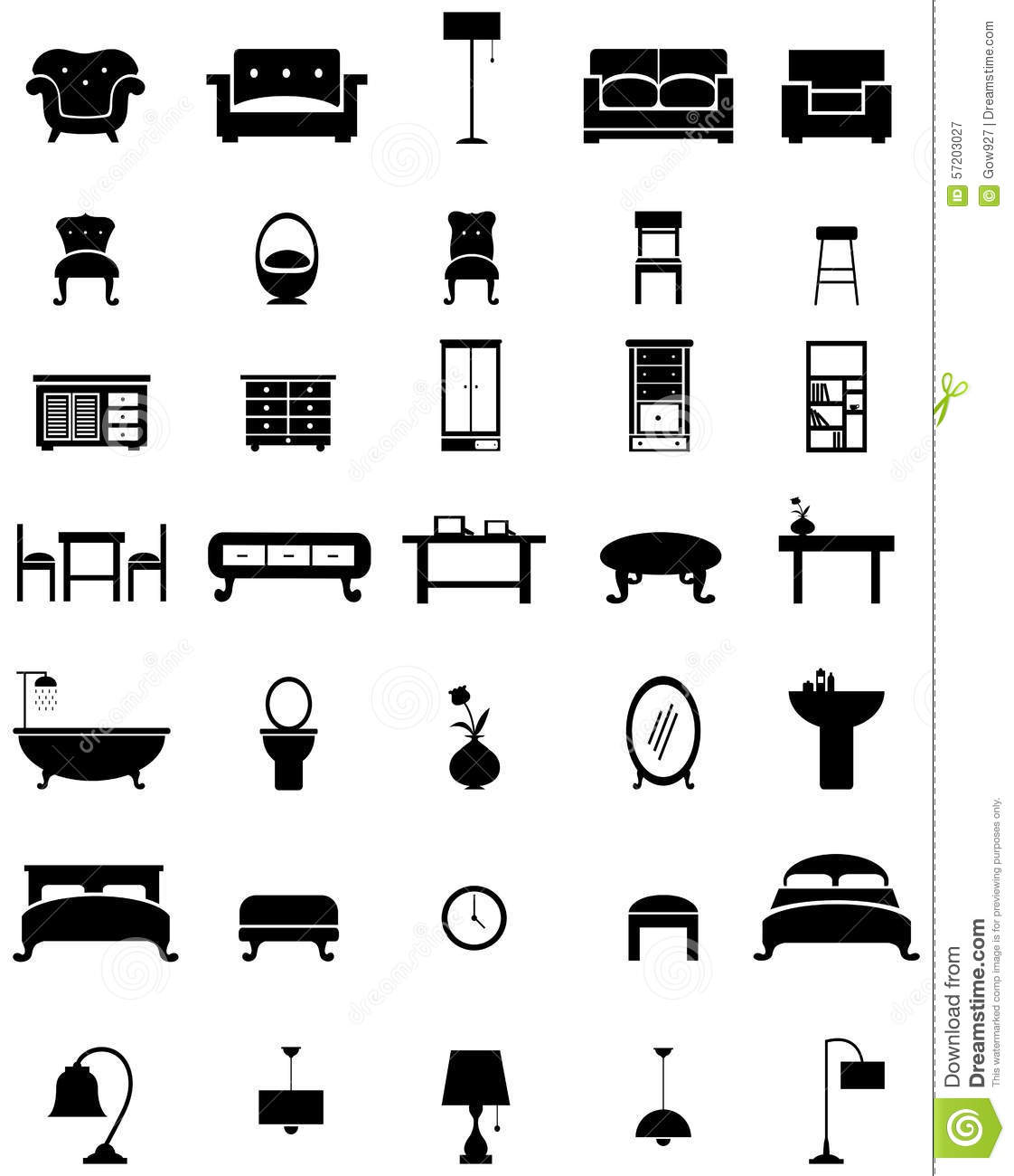 Silhouette Flat Home Appliance Furniture And Interior