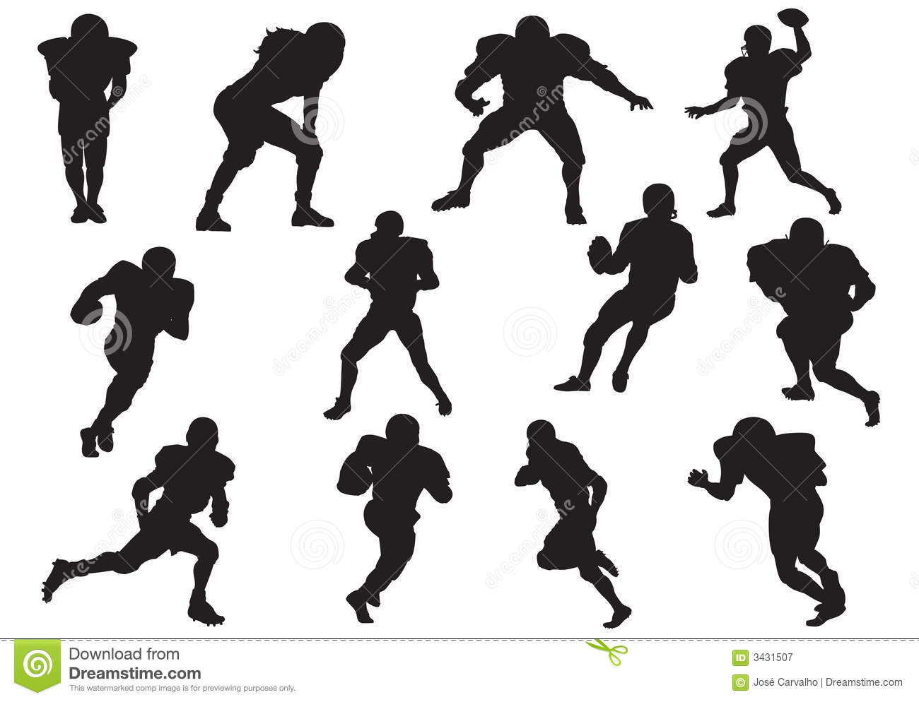Silhouette Of Football Players Royalty Free Stock