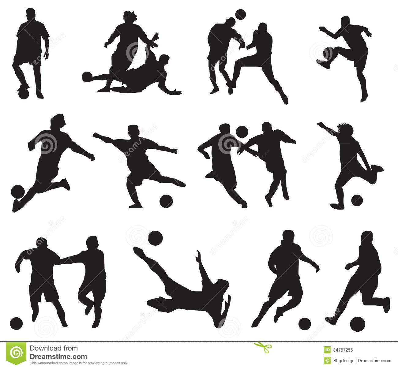 Silhouette Football Players Stock Vector