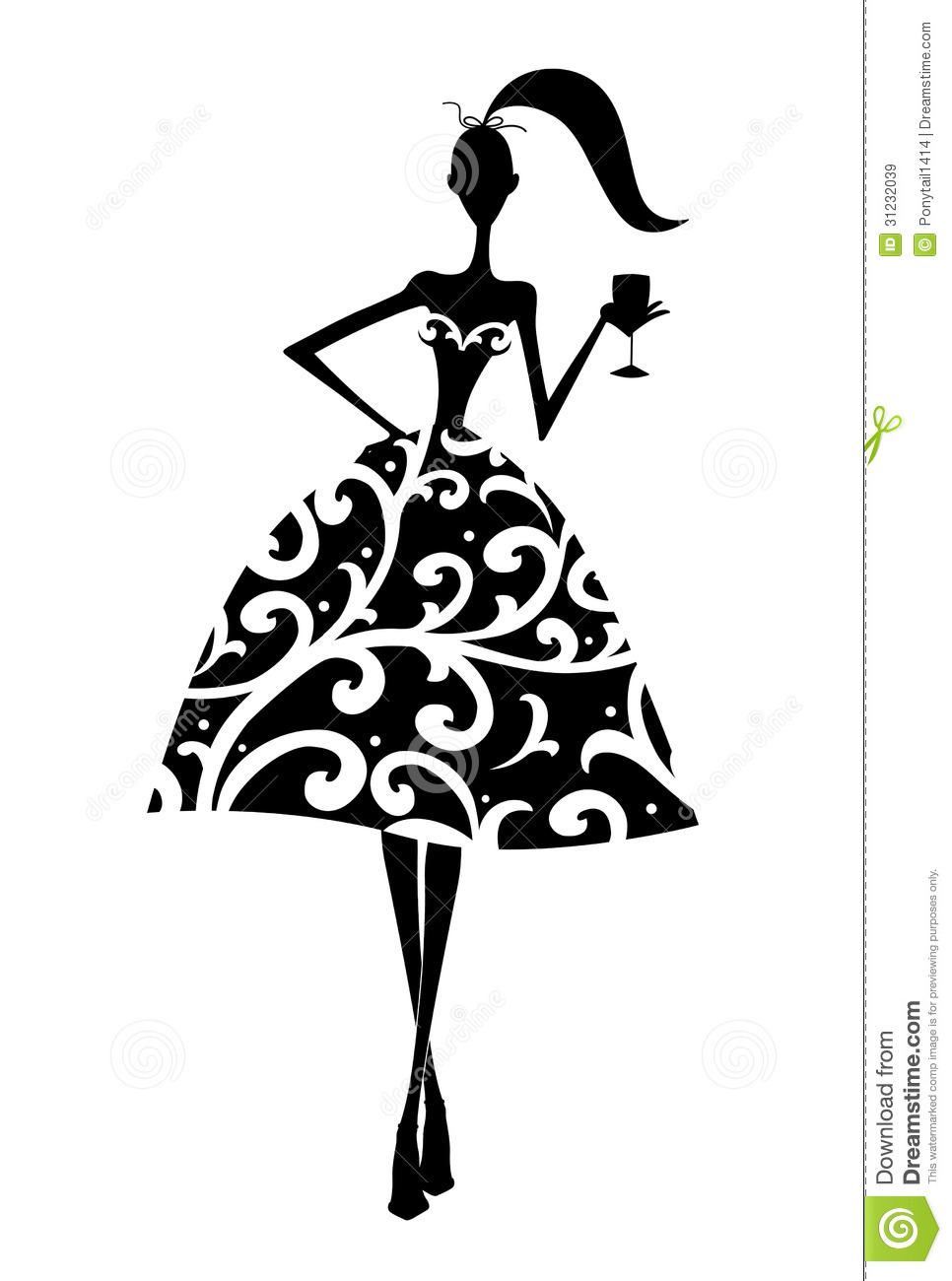 Stock Photo: Silhouette of a Girl at a Party. Image: