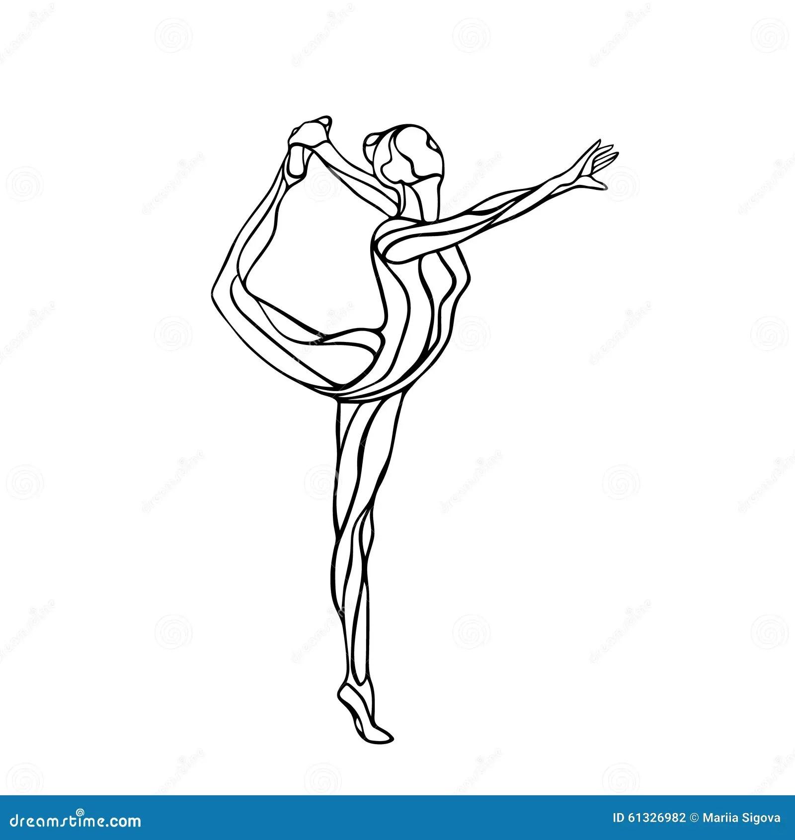 Silhouette Of Gymnastic Girl Art Gymnastics Stock Vector