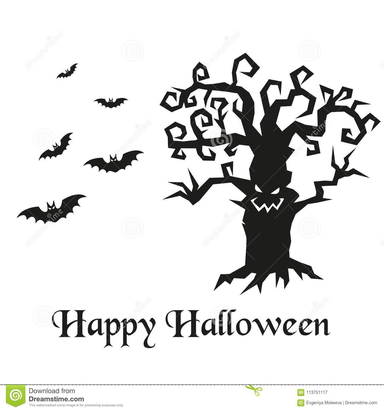 Silhouette Of Halloween Tree And Bats Stock Vector
