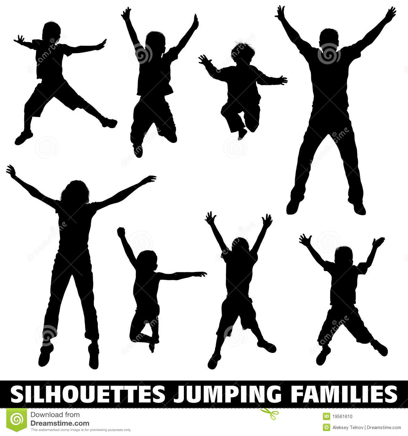 Silhouette Happy Jumping Family Stock Photo Image 19561610