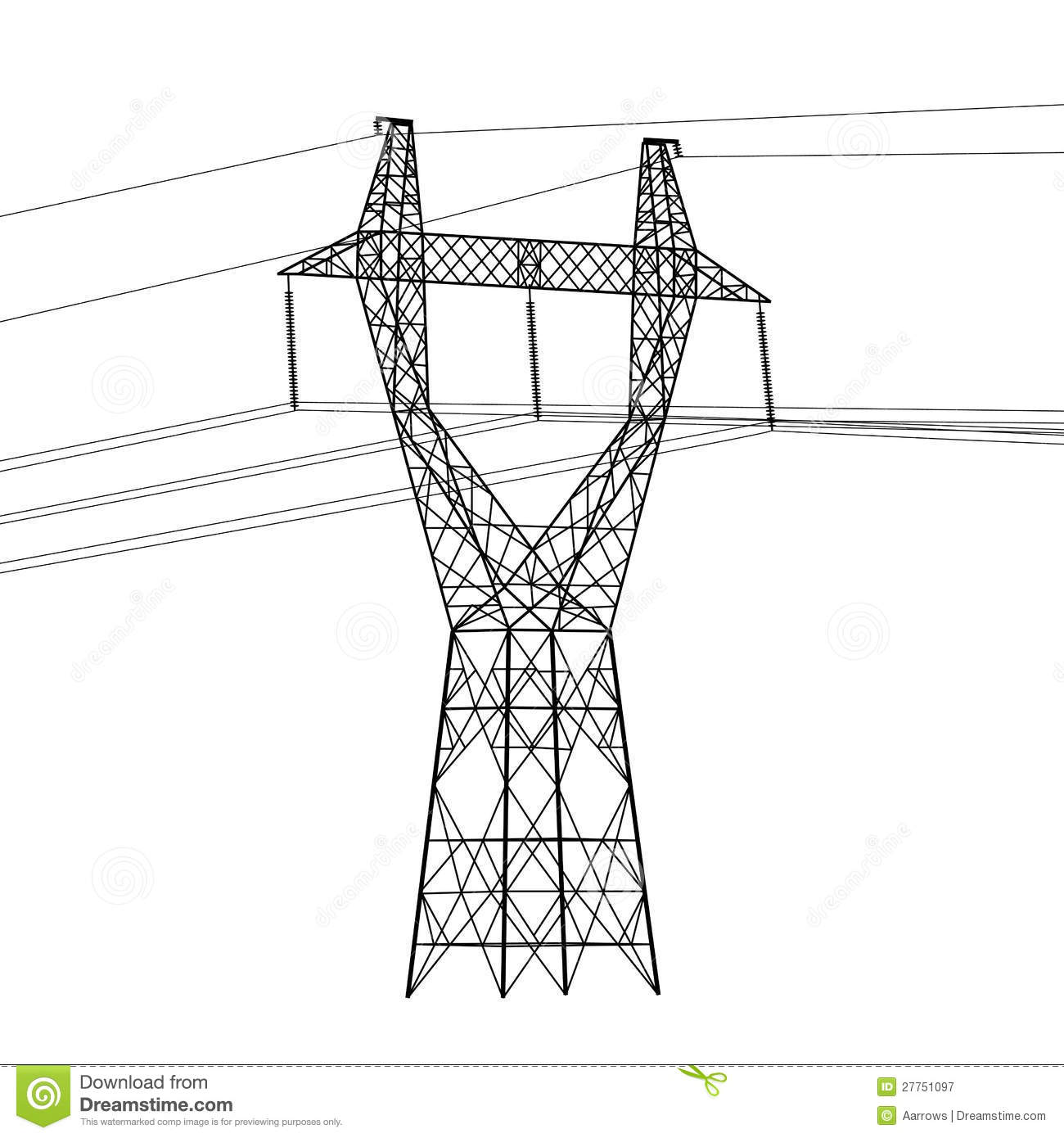 hight resolution of silhouette of high voltage power lines