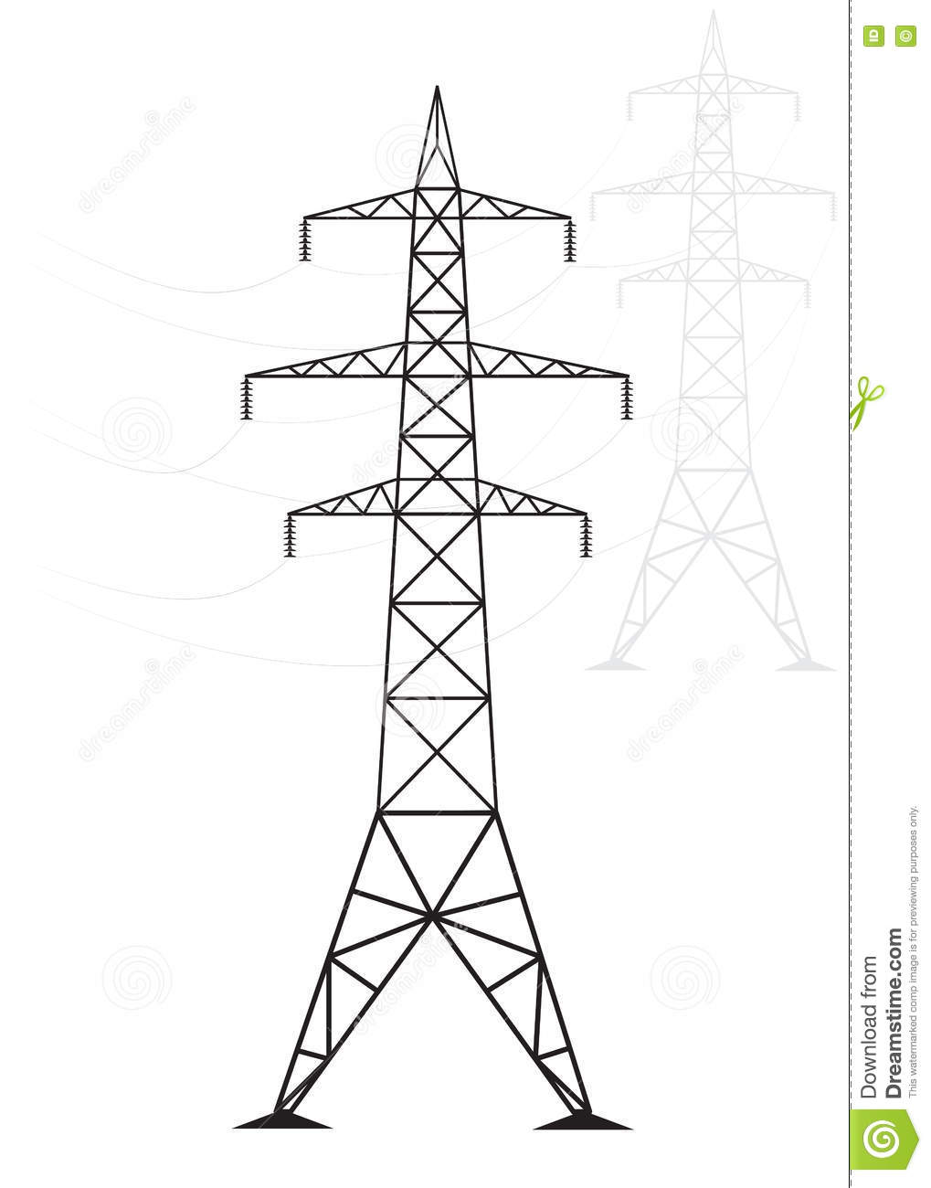 Silhouette High Voltage Power Lines On A Light Background