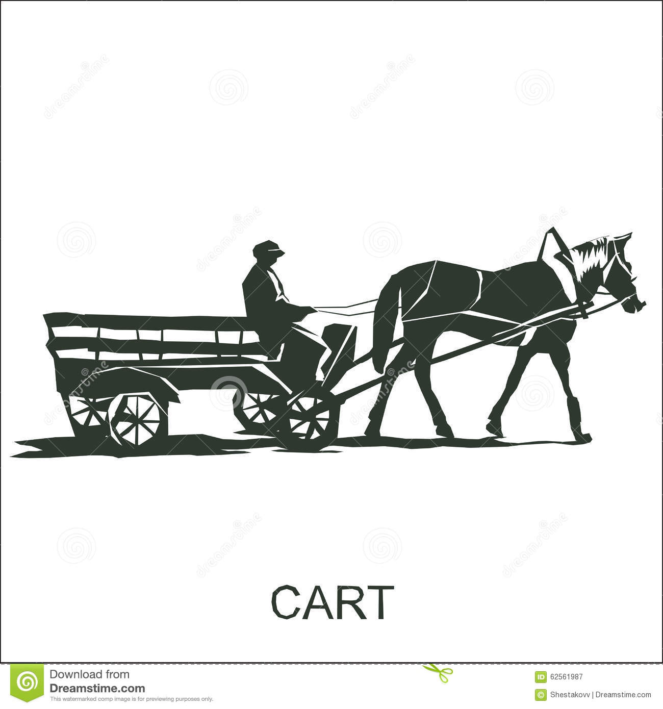 Silhouette Horse And Carriage With Coachman Stock Vector