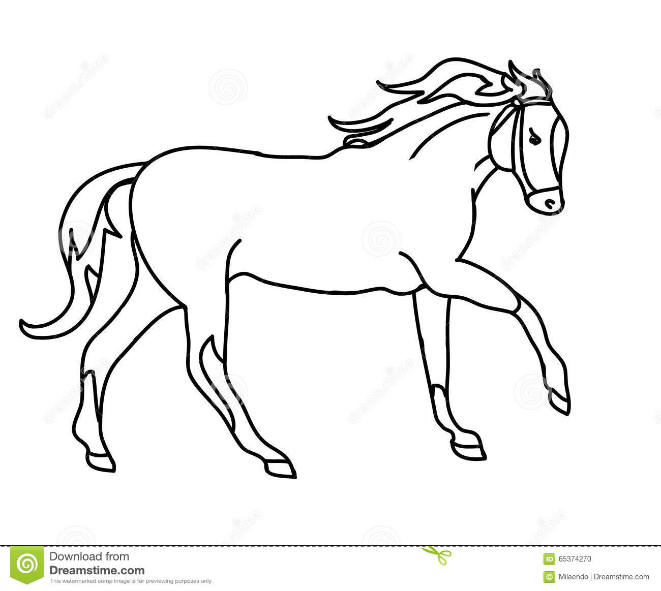 The Silhouette Of A Horse Gallop Black Outline Stock