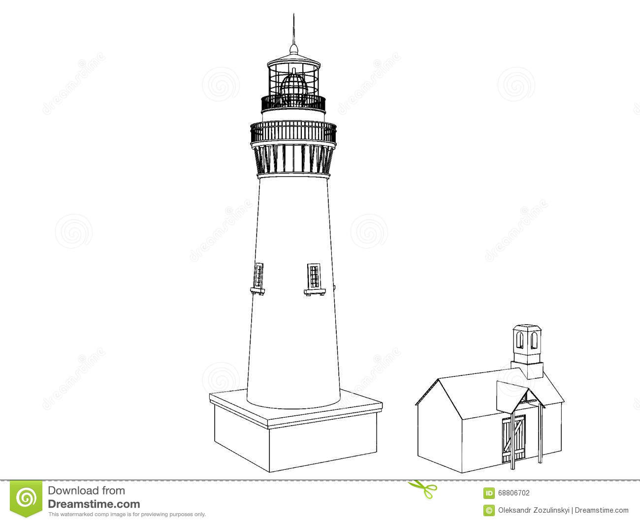 Silhouette Lighthouse On A Light Background Stock Vector