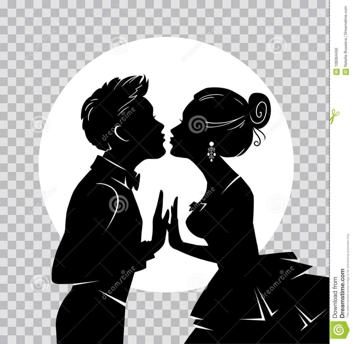 Download Silhouette Of Loving Couple On Background Of Moon ...