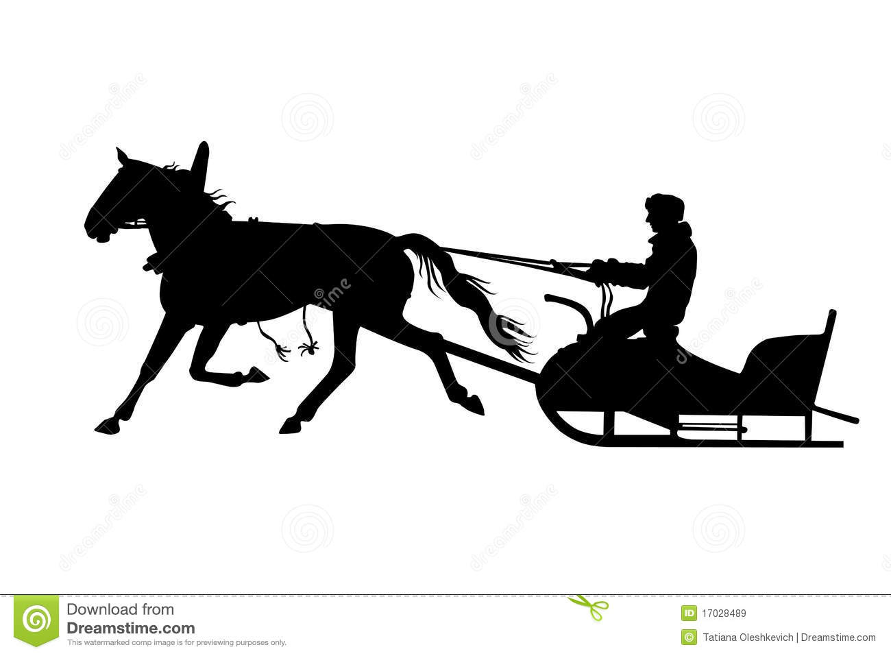 Silhouette Of Man With Horse Drawn Sled Royalty Free Stock