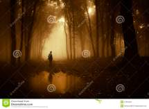 Creepy Man Standing in the Forest