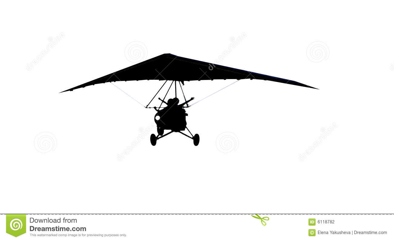 Silhouette Of Moto Hang Glider Stock Photography
