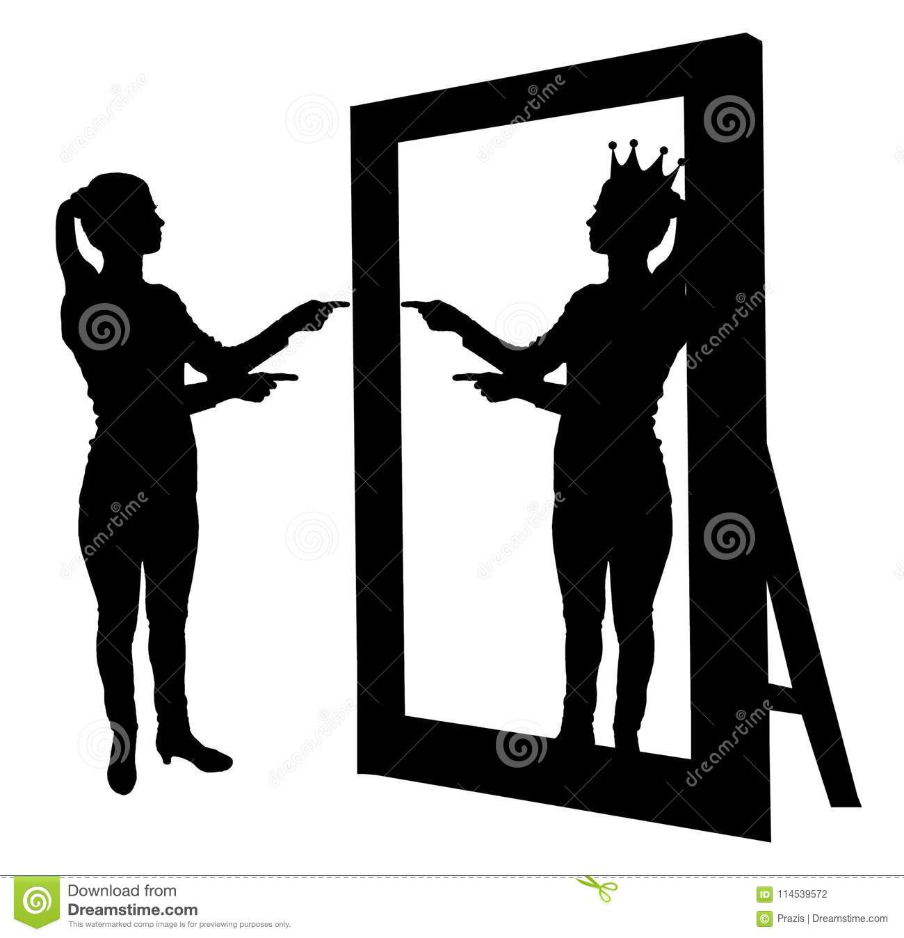 Silhouette Of A Narcissistic Woman Raises Her Self Esteem